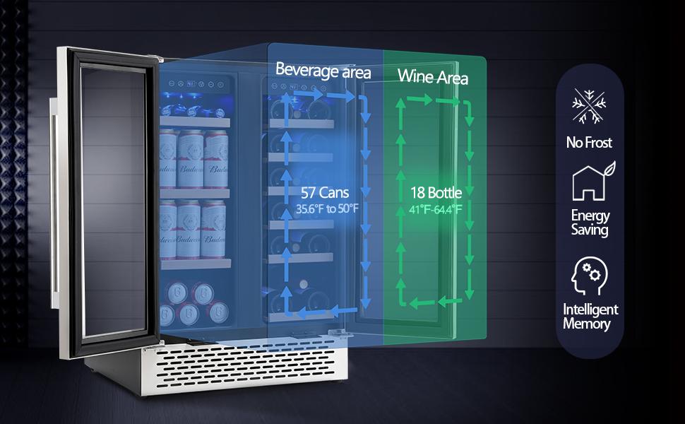 Wine Cooler Dual Zone,Beverage Refrigerator
