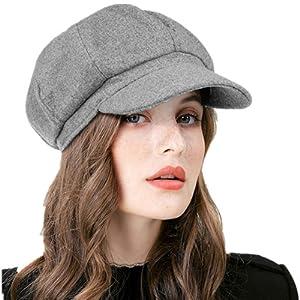 GEMVIE B/éret Casquette Femme Chapeau Newsboy R/étro Bonnet Casquettes Souples Octogonal Automne-Hiver