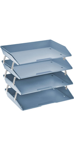 acrimet facility letter tray 4 tier side load solid blue color