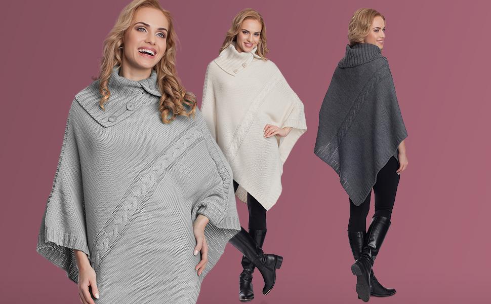 Merry Style Poncho V/êtement dhiver Femme 2V3T1
