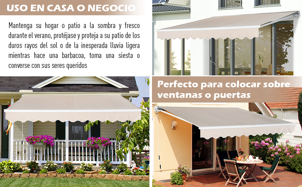Outsunny Toldo para Patio Balcón Terraza y Jardín con Brazo articulado de Aluminio y Tela de Poliéster de 280g/m2 400x250cm (Blanco): Amazon.es: Jardín