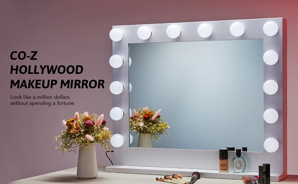 CO-Z Hollywood Makeup Mirror with Lights Dimmable, White Hollywood Vanity Mirror with 15 LED Bulbs