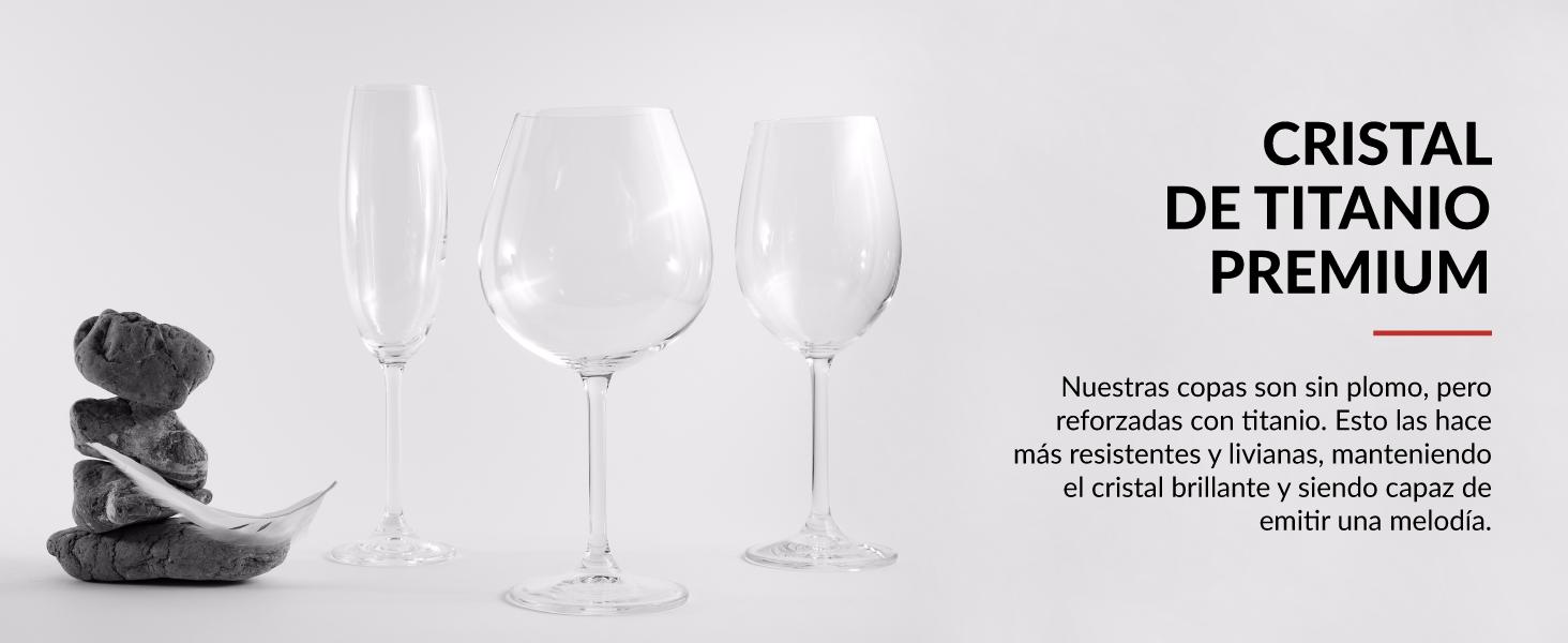 set de copas de vino y copas de cava resistentes y duraderas de titanio Premium