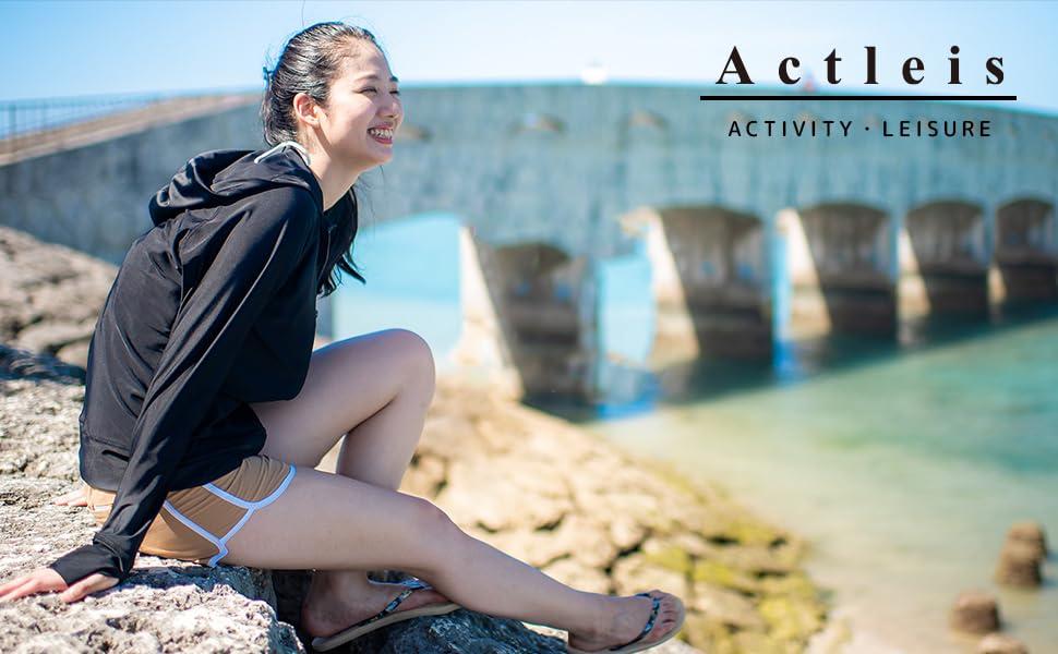 UPF50 Actleis Kids Long Sleeve Zip Rash Guard UV Sun Protection Quick Dry Swimming Running Fising Shirts us-al20010
