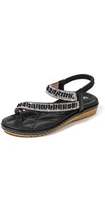 black falt sandals