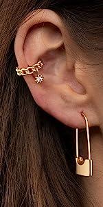 safety pin earrings hoop