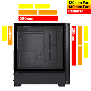 2 Pre-installed 120mm fans radiator 120mm fan 140mm 280mm air cooling cooler liquid ready
