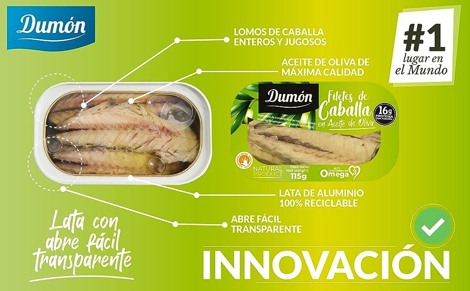 Dumón - 16 unidades de 115 gr de Filetes de Caballa en Aceite de Oliva, Exclusivo Formato Transparente, Abre Fácil, Conservas de Pescado en lata Alto ...