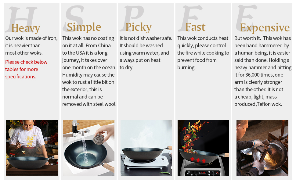 carbon steel wok, Chinese cooking, woks and stir fry, hand hammered, Flat bottom, induction suitable