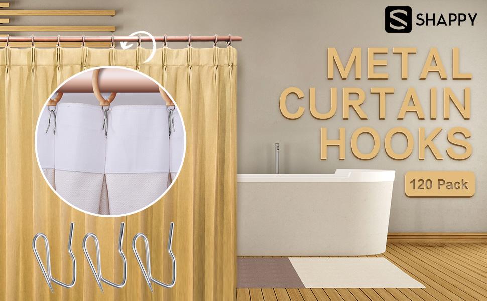 Metal Drapery Pin Hooks Clips For Door Window Shower Curtain Drapery Pin On Hooks Set 1.3x0.9inches OTOTEC 200pcs Pinch Pleat Curtain Hooks