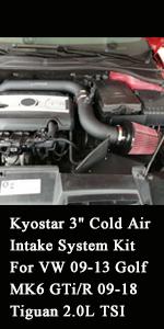 "Kyostar 3"" Cold Air Intake System Kit For VW 09-13 Golf MK6 GTi/R 09-18 Tiguan 2.0L TSI"
