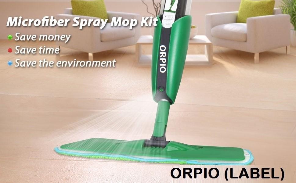 ORPIO Spray Mop with Reusable, Washable Microfiber Cloth