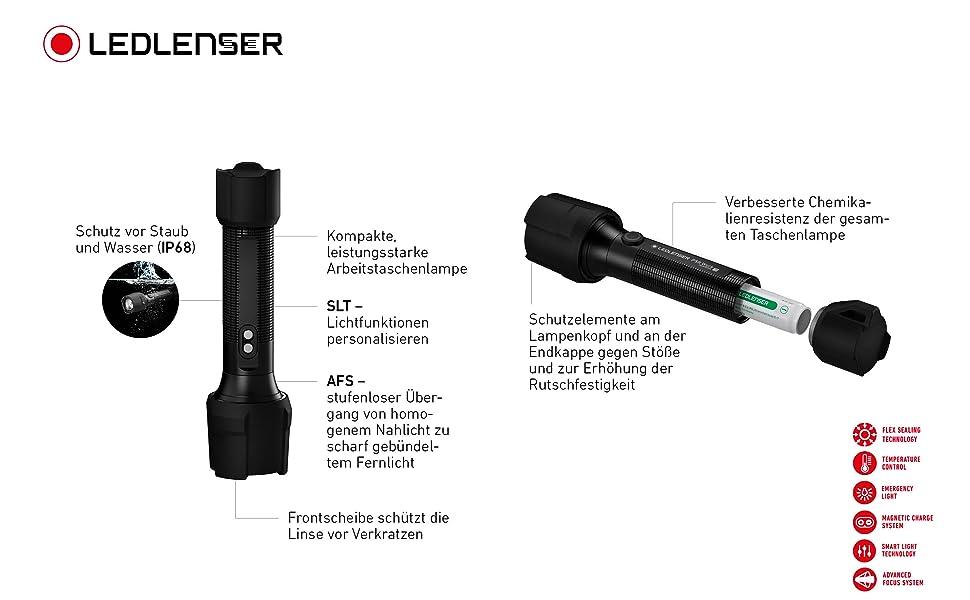 P5R Work Ledlenser staafzaklamp, robuuste zaklamp, waterdichte zaklamp, oplaadbaar