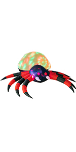 Halloween Inflatable Spider with LED Swirling Lights