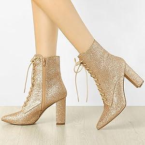 Allegra K Women's Glitter Pointed Toe Block Heel Ankle Boots