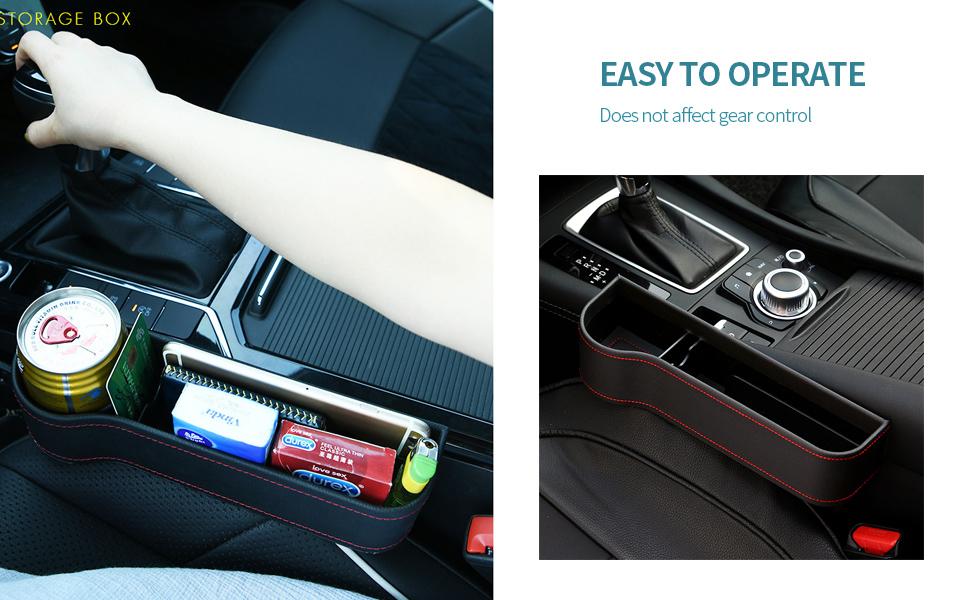 Drive+Passenger Side WonVon Car Seat Gap Storage Boxes,2PCS Auto Seat Console Organizer with Cup Holder
