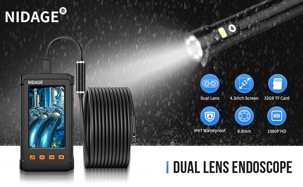 Details about  /Waterproof Industrial Endoscope Dual Lens Camera Borescope LED 2600mAh Battery