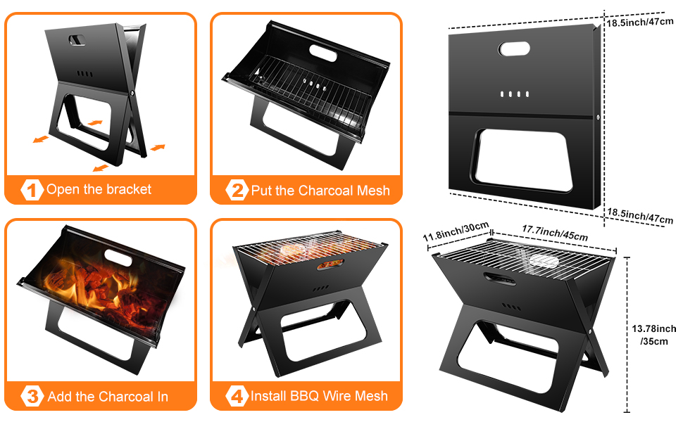 Portable folding bbq charcoal grill