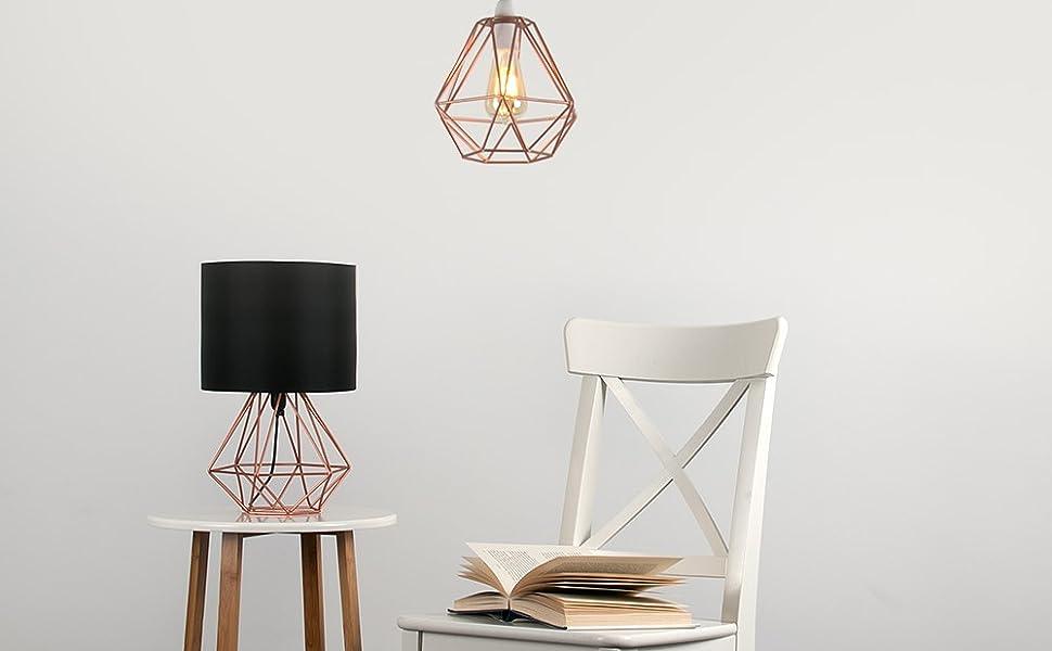 MiniSun - Moderna Lámpara de Mesa– Innovadora Base de Estilo Jaula ...