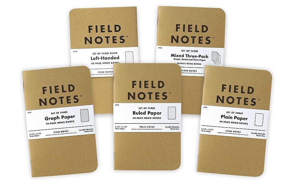 field notes original kraft packs graph ruled lined plain left-handed