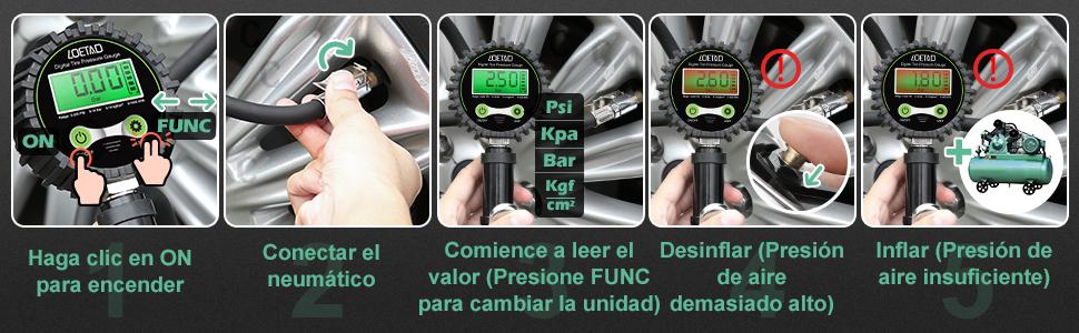 LOETAD Manómetro Digital Medidor de Presión de Ruedas Neumáticos ...