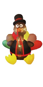 6 FT Thanksgiving Inflatable Turkey, Blow up Airblown Lighted Turkey Decor