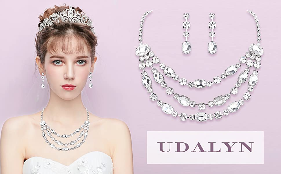 Rhinestone Bridesmaid Jewelry Sets for Women Necklace and Earring Set