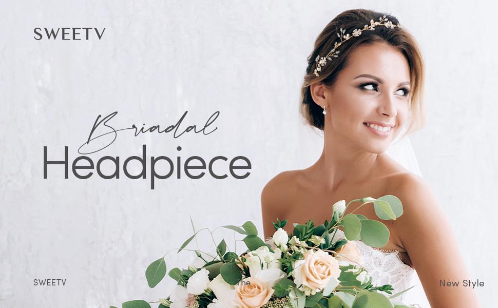 SWEETV Handmade Wedding Headband