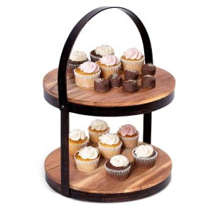 Cupcake stand, cake stand, 2-tier food stand, rustic accents, party food display