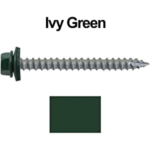 Amazon Com 14 Metal Roofing Screws 250 Screws X 2 1 2 Ivy Forest Green Hex Head Sheet Metal Roof Screw Self Starting Tapping Metal To Wood Sheet Metal Screws Epdm Washer For Corrugated Roofing Home