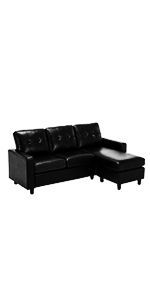 Black PU Sectional Sofa Couch
