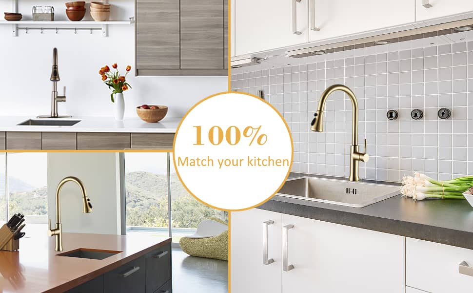 kitchen faucet brushed gold finish