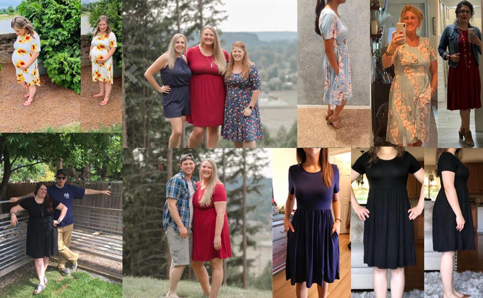 DB MOON Women Summer Casual Short Sleeve Dresses