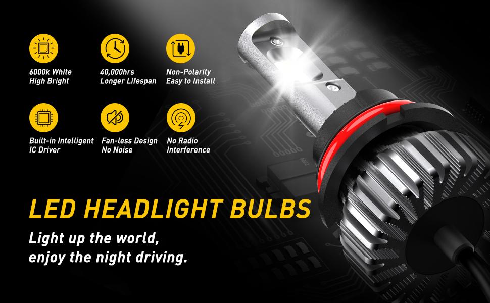 9007 led headlight bulbs kit