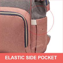 Side elastic pocket of motherly diaper bag