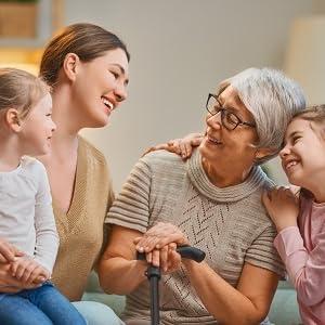 elderly with family happy
