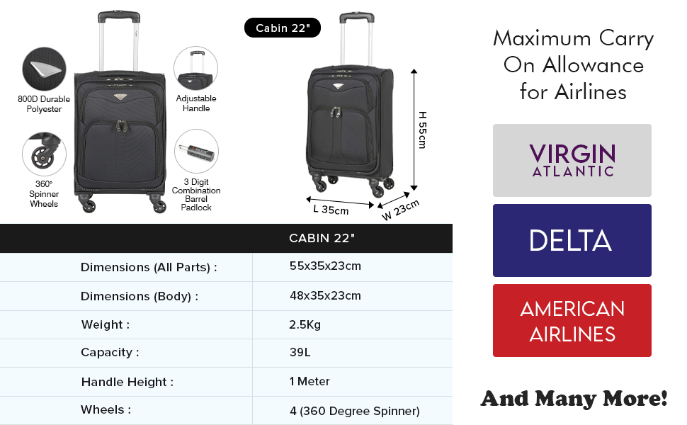 4 wheel suitcase large