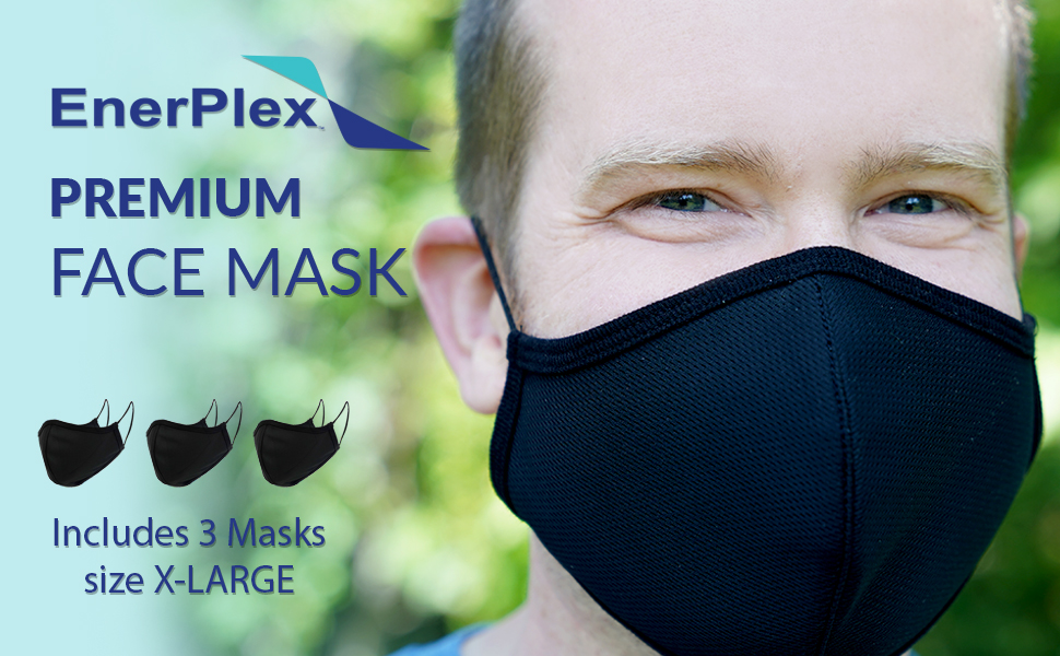 enerplex reusable premium face mask extra large face mask for man large face fabric mask facial hair