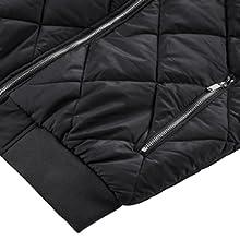 Two hand zipper pocke inner pocket full zipper off padded jacket bomber winter windbreaker