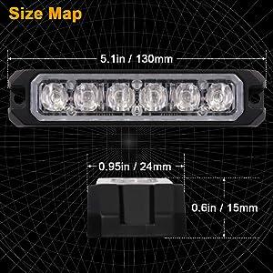 size of amber LED strobe light for trucks cars SUV construction vehicles