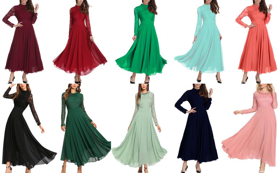 Long Sleeve Chiffon Evening Dress
