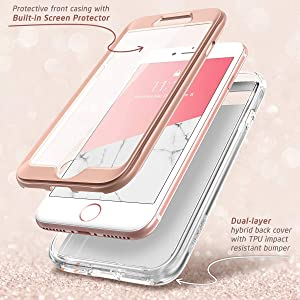 i-Blason Cosmo Case for iPhone SE 2020 iPhone 7 iPhone 8 Screen Protector Stylish Protective Bumper