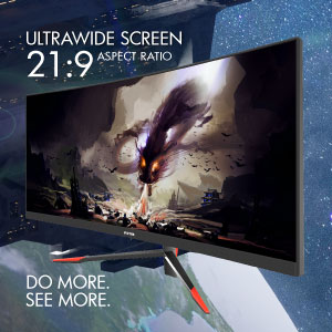 21:9 movie-ready aspect ratio on a space-saving 30-inch screen