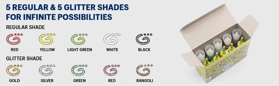 5 regular & 5 glitter shades for infinite possibilities