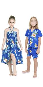 Hawaii Hangover Sibling Matching Set Blue Hibiscus Classic Hawaiian Style
