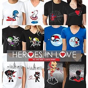 superhero couples shirts matching outfits him her girlfriend boyfriend husband wife mr mrs honeymoon