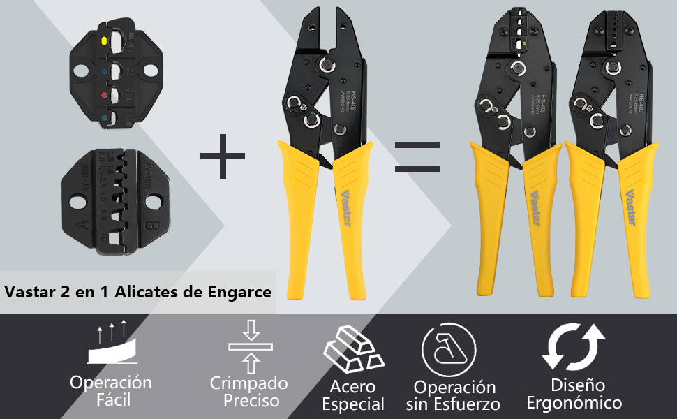 Vastar Juego de Alicates de Crimpadora - 2 en 1 Crimpadora de Terminales Alicates 0.25mm-10mm con Destornillador para Cambiar Mordazas, ...