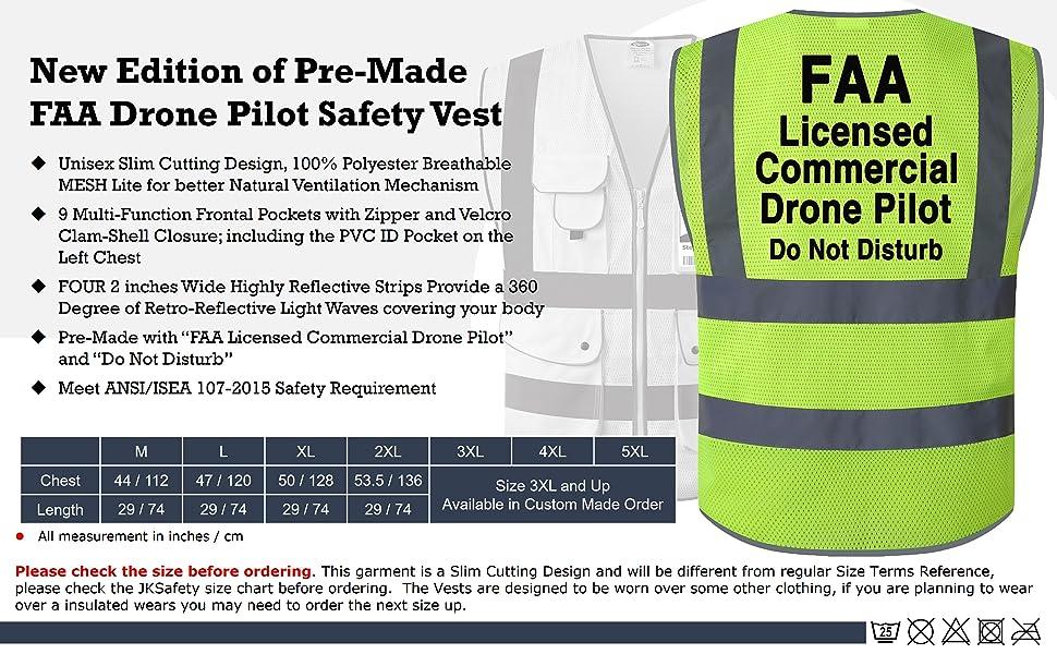 EBC-JKSafety 9 Pockets Yellow FAA Drone Pilot