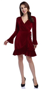 women ladies v-neck a-line velvet ruffles party casual dress