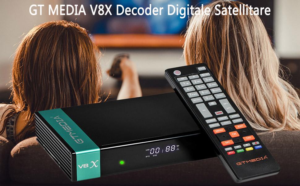 GT Media V8X DVB-S / S2 / S2X Decodificador de Receptor de TV Satelital Digital con Wi-Fi Incorporado / 1080P Full HD/FTA Soporte CC CAM, Youtube, ...